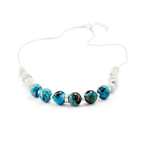 Blue Chalcedony White Howlite Beaded Silver Necklace