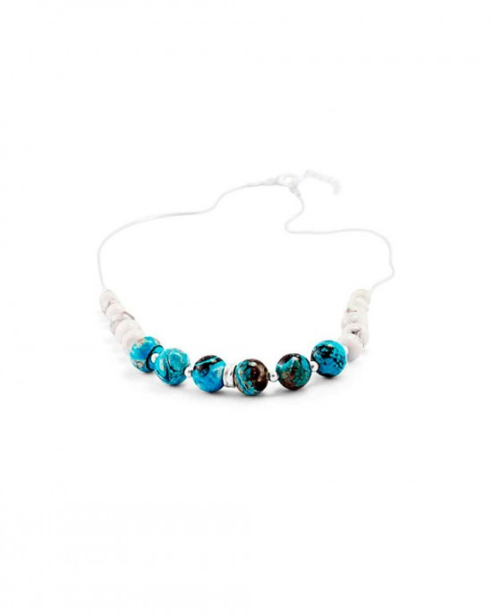Blue Chalcedony White Howlite Beaded Silver Necklace - NECKLACES & PENDANTS