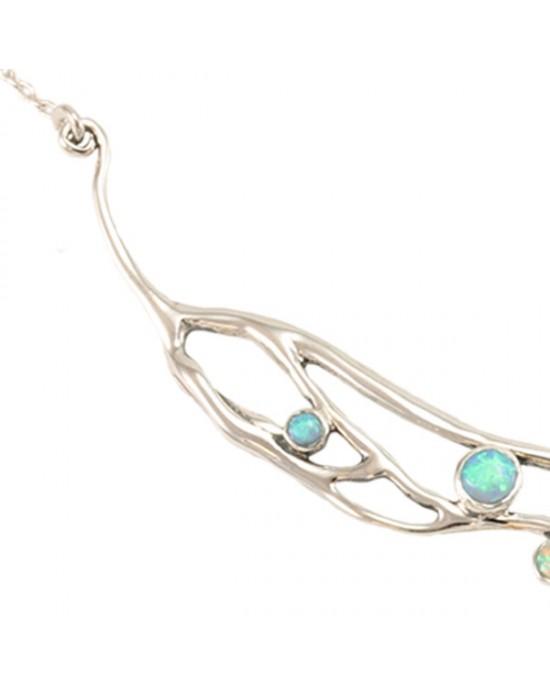 Blue White Opalite Silver Necklace - NECKLACES & PENDANTS