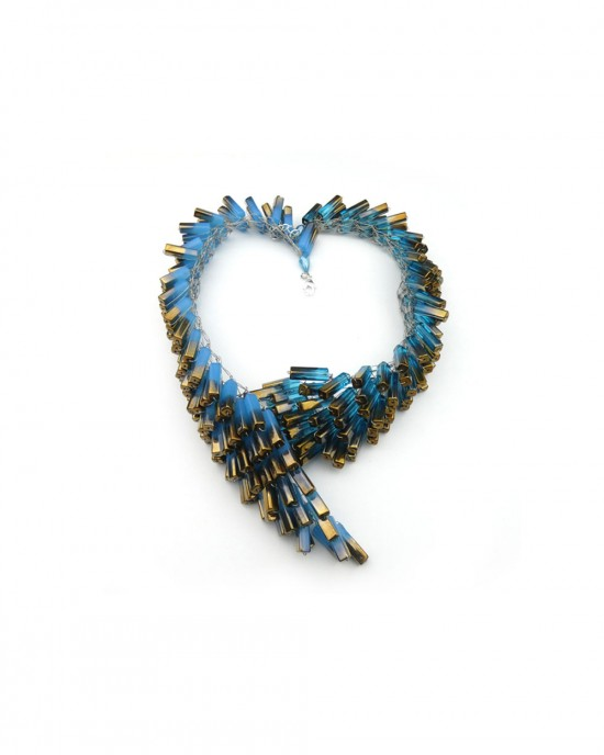 Chunky Blue & Gold Glass Beaded Necklace