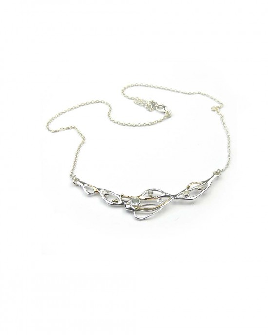 Crescent of Silver Necklace with Topaz CZ - NECKLACES & PENDANTS