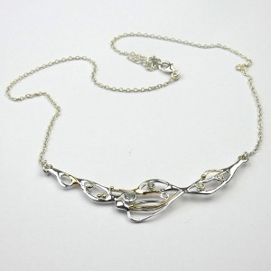 Crescent of Silver Necklace with Topaz CZ