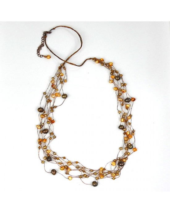 Amber Brown Freshwater Pearl Crystal Necklace