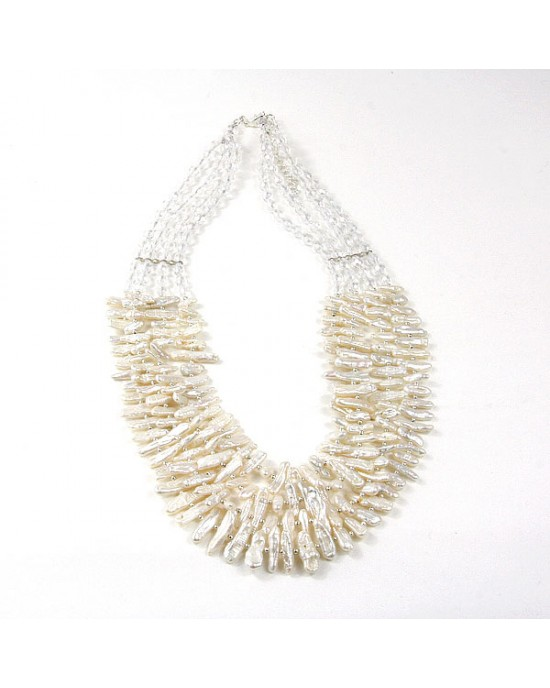 Freshwater Pearl Crystal Glass Four Strand Necklace