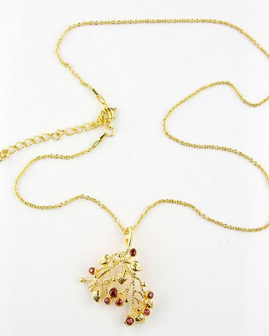 Garnet 18k Gold Plated Necklace