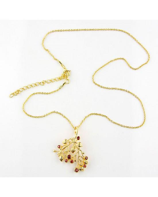 Garnet 18k Gold Plated Necklace - NECKLACES & PENDANTS