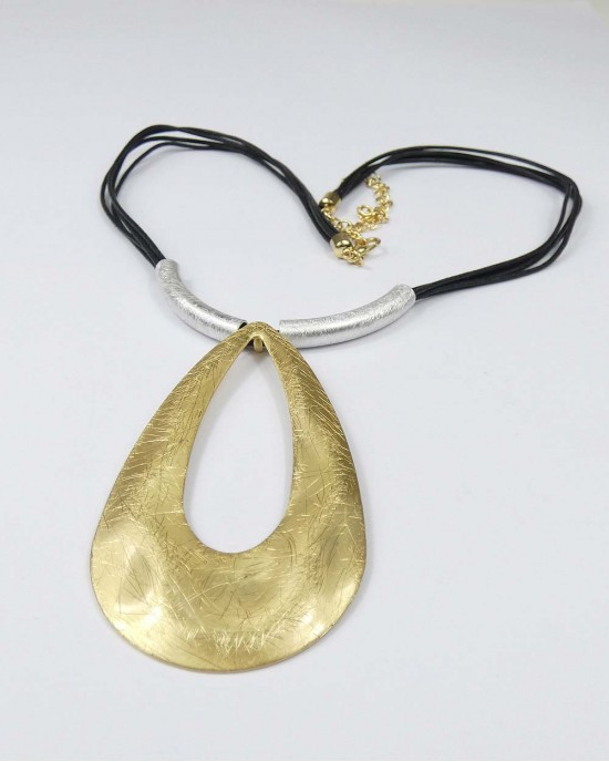 Gold & Silver Plated Metal Hollow Pear Drop Necklace