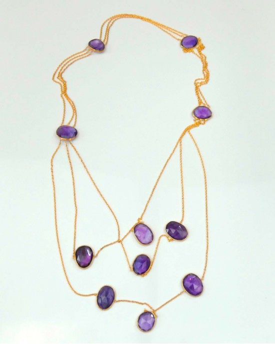 Gold Plated 3 Strand Necklace with Amethysts