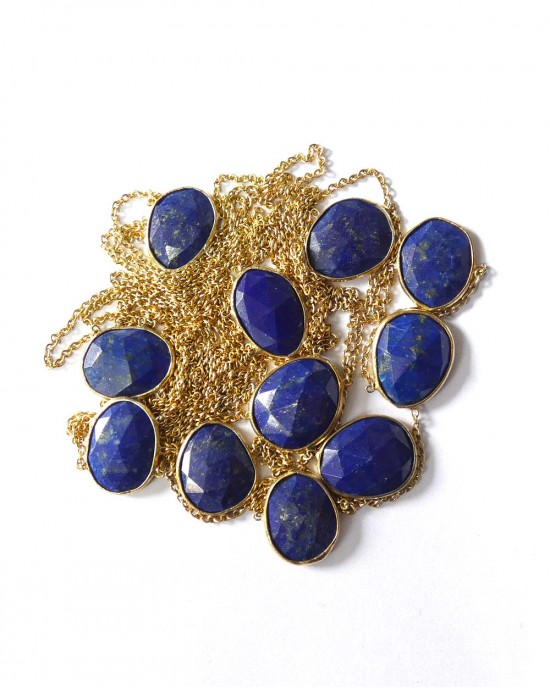 Gold Plated 3 Strand Necklace with Lapis Lazuli - NECKLACES & PENDANTS