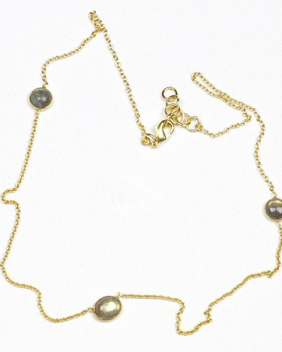Gold Plated Necklace with Labradorite Stones
