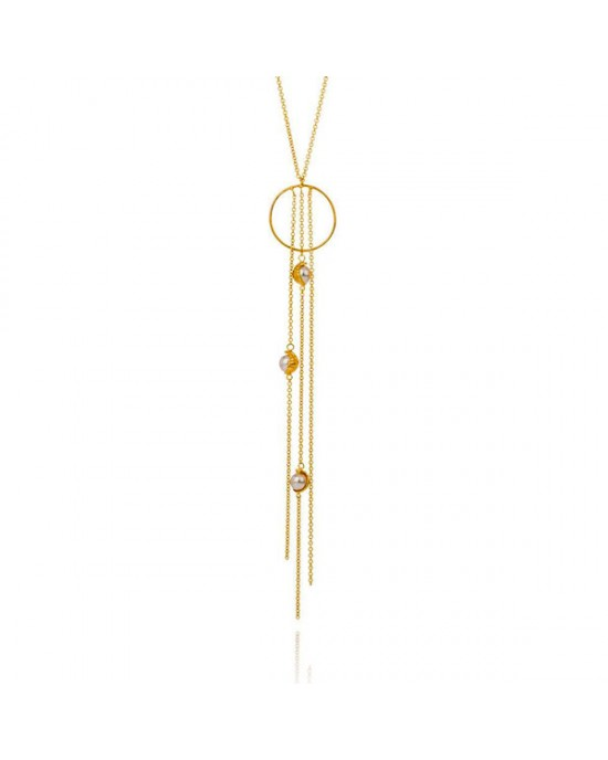 Gold Plated Silver Pearl Necklace - NECKLACES & PENDANTS