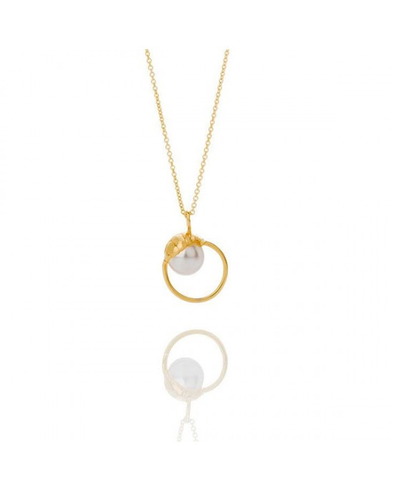 Gold Plated Silver Swarovski Crystal Pearl Necklace - NECKLACES & PENDANTS