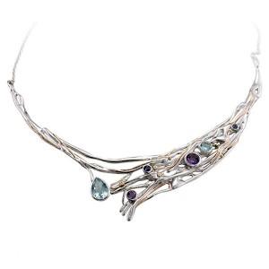 Large Silver Gemmed Necklace