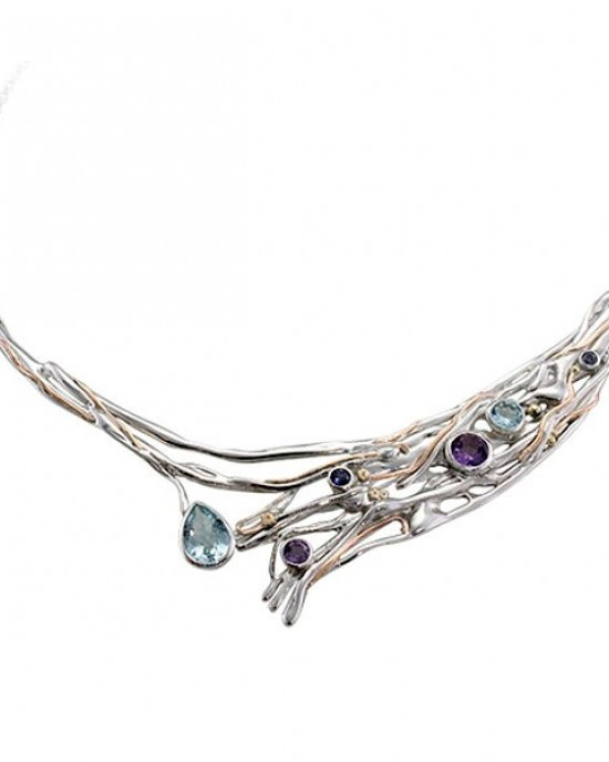 Large Silver Gemmed Necklace