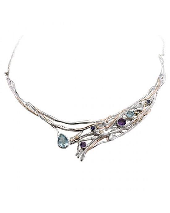 Large Silver Gemmed Necklace - NECKLACES & PENDANTS