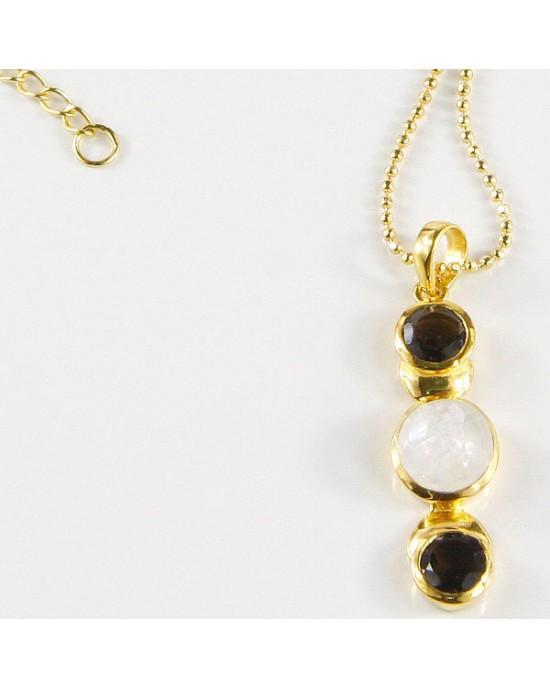 Moonstone & Smoky Quartz Necklace - NECKLACES & PENDANTS
