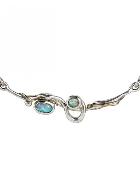 Flowing Opalite Silver Necklace