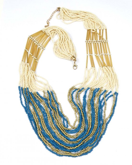 Seed Beads Necklace, Gold & Blue - NECKLACES & PENDANTS