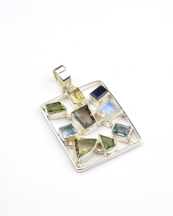 Silver Mixed Stone Pendant