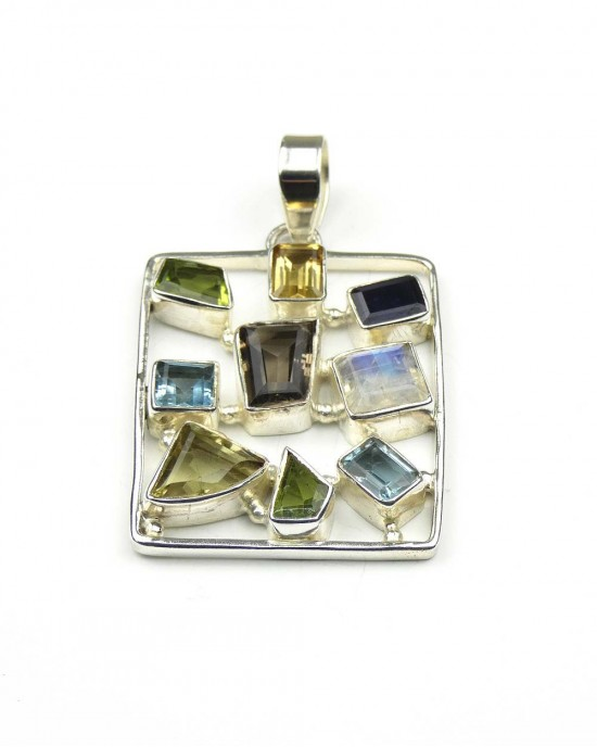Silver Mixed Stone Pendant - NECKLACES & PENDANTS