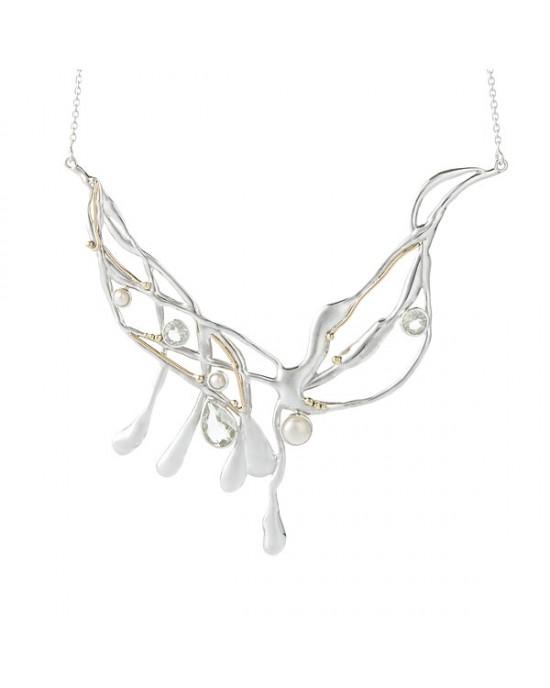 Silver Necklace, Amethyst & Pearl - NECKLACES & PENDANTS