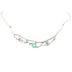 Blue White Opalite Silver Necklace