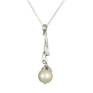 Ornate Pearl Silver Pendant