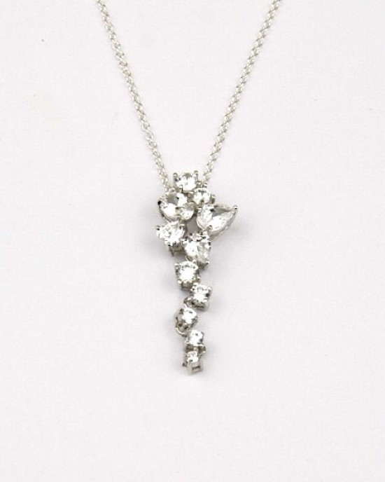 Silver Pendant with Pear and Round Cut Cubic Zirconia