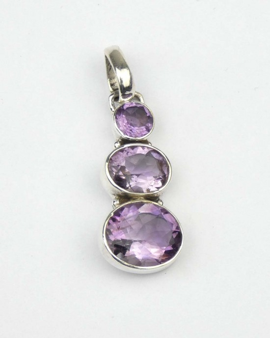 Oval Amethyst Silver Pendant,NECKLACES,Claire Hartley