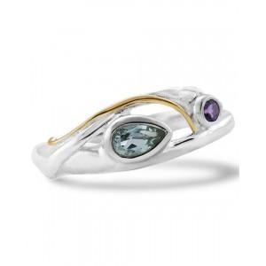 Blue Topaz Purple Amethyst Silver Ring