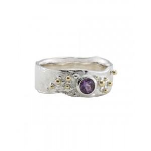 Purple Amethyst Gold Fill Silver Ring