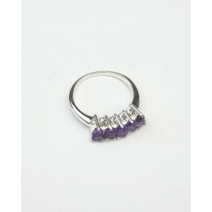 Five Stone Amethyst Silver Ring