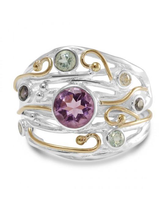 Amethyst Iolite CZ Silver Ring - RINGS