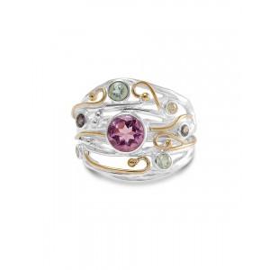 Amethyst Iolite CZ Silver Ring