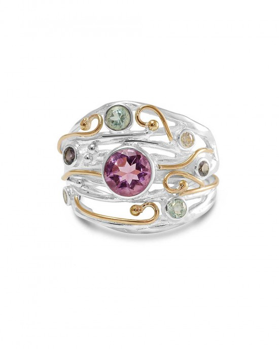 Amethyst Iolite gemstones Silver Ring
