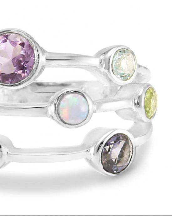 Cornucopia of Stones Silver Ring