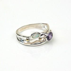 Amethyst Opalite Silver Ring