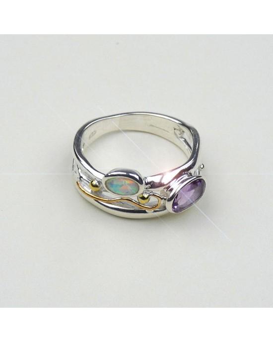 Amethyst Opalite Silver Ring - RINGS