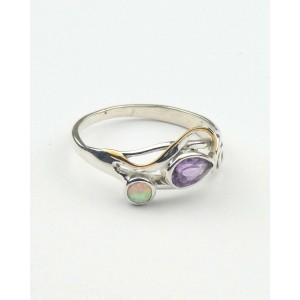 Amethyst Opalite Silver Swirl Ring