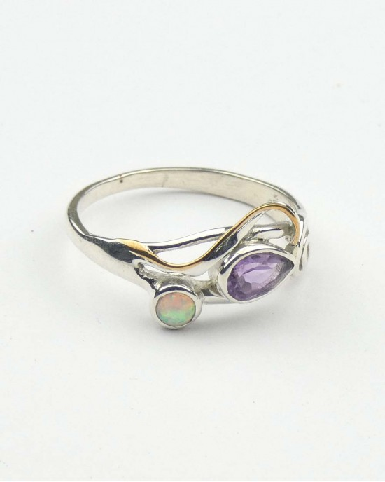 Amethyst Opalite Silver Swirl Ring - RINGS