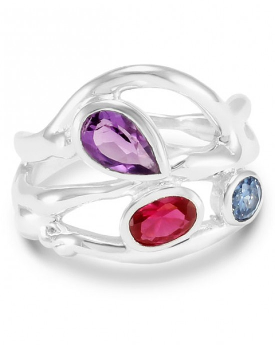 Multi-Coloured Stones Silver Ring