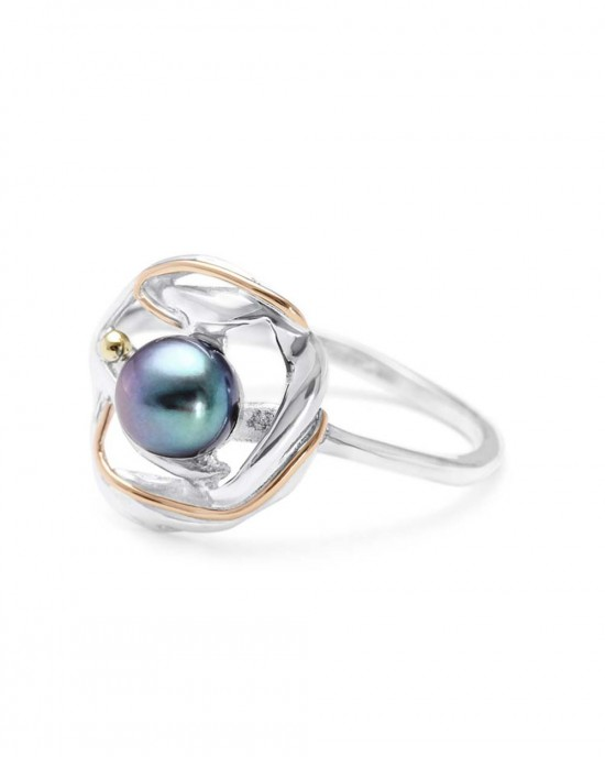 Black Pearl Solitaire Silver Ring - RINGS