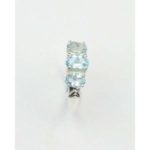 Blue Topaz Three Stone Silver Ring