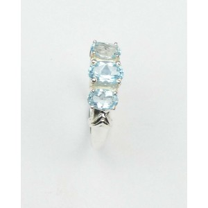 Blue Topaz Three Stone Silver Ring