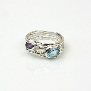 Blue Topaz Amethyst Silver Ring