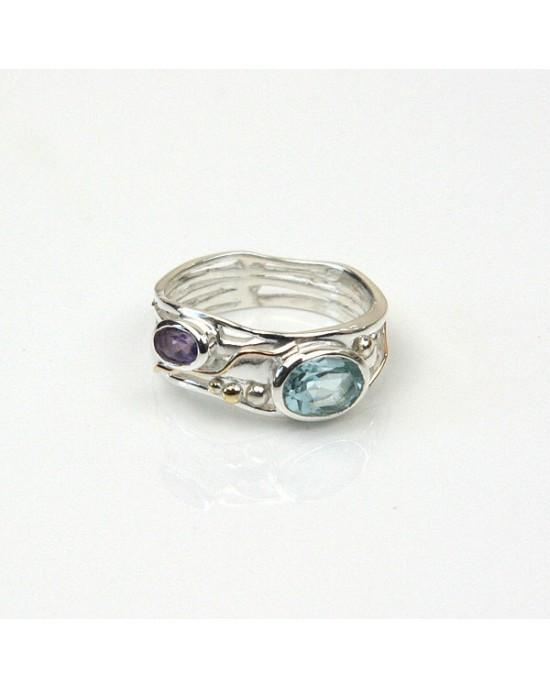 Blue Topaz Amethyst Silver Ring - RINGS