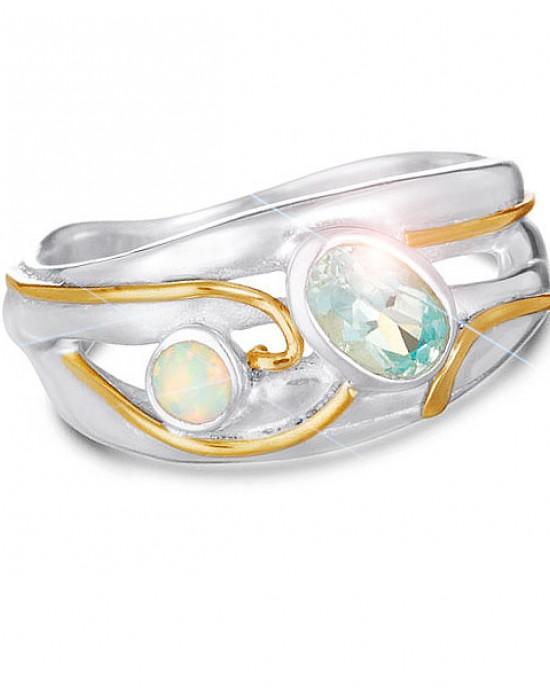 Blue Topaz Pale Opalite Silver Ring