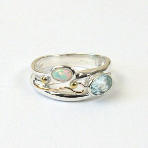 Blue Topaz Opalite Silver Ring with Goldfill Wire