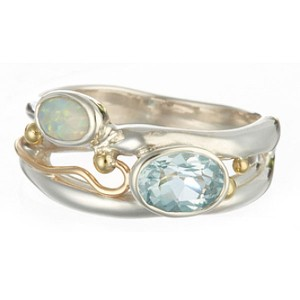 Blue Topaz Opalite Silver Ring with Goldfill Wire Detail