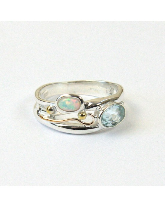 Blue Topaz Opalite Silver Ring with Goldfill Wire - RINGS